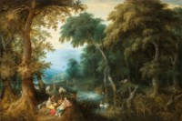 Diana and her nymphs in a wooded landscape