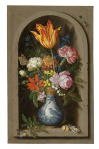 Flowers in a Wan-li gilt-mounted vase in a niche with shells and insects