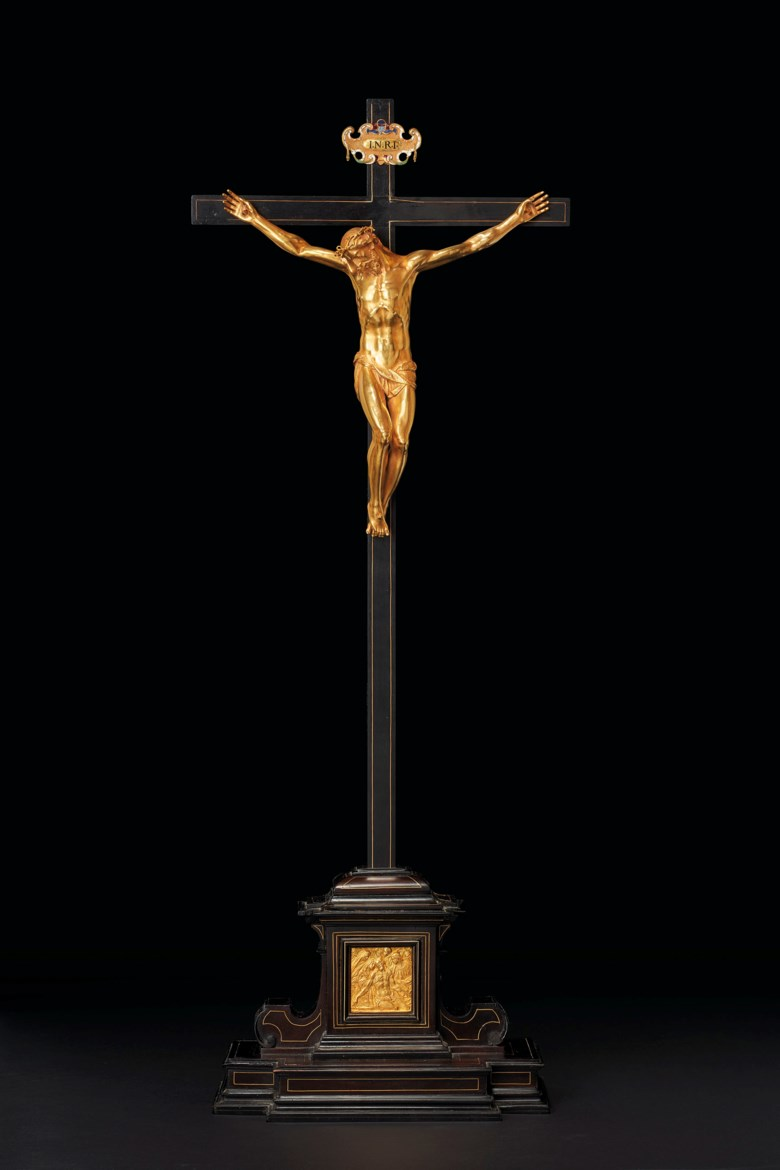 Gasparo Mola (active Florence 1571-1640 Rome), Florence, circa 1597-1606, Cristo Morto. 8 in (20.2 cm) high, gold corpus; 25½ in (64.8 cm) high, overall. Sold for £671,250 on 3 December 2019 at Christie's in London