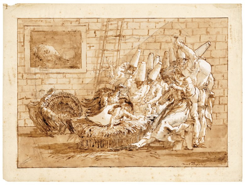 Giovanni Domenico Tiepolo (1727-1804), The birth of Punchinello's father. Black chalk, pen and brown ink, brown wash, watermark three crescents. 13⅝ x 18⅜ in (34.6 x 46.6 cm). Sold for £791,250 on 3 December 2019 at Christies in London