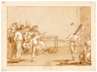 Punchinellos playing battledore and shuttlecock