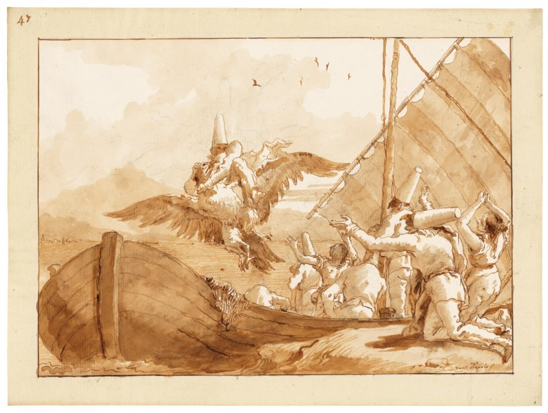Giovanni Domenico Tiepolo (1727-1804), Punchinello carried off by an eagle. Black chalk, pen and brown ink, brown wash, watermark three crescents. 13⅝ x 18⅜ in (34.8 x 46.6 cm). Sold for £791,250 on 3 December 2019 at Christies in London