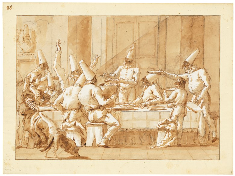 Giovanni Domenico Tiepolo (1727-1804), Punchinellos feasting. Black chalk, pen and brown ink, brown wash, watermark crown with letters GAF. 13⅝ x 18¼ in (34.6 x 46.5 cm). Sold for £791,250 on 3 December 2019 at Christies in London