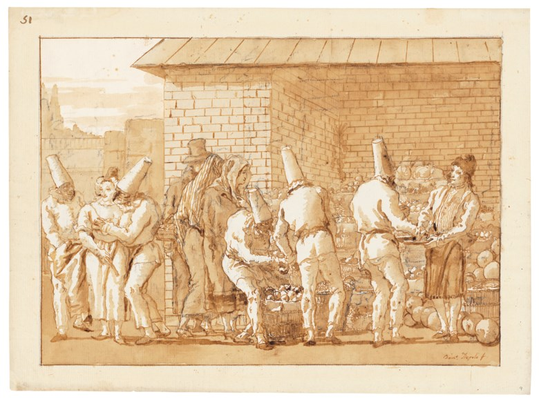 Giovanni Domenico Tiepolo (1727-1804), Punchinellos at a fruit and vegetable stall. black chalk, pen and brown ink, brown wash, watermark three crescents. 13½ x 18¼ in (34.3 x 46.4 cm). Sold for £791,250 on 3 December 2019 at Christies in London