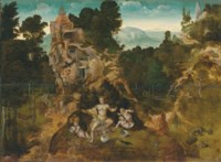 Leda and her children in a mountainous landscape with Saint Antony Abbot and the centaur beyond
