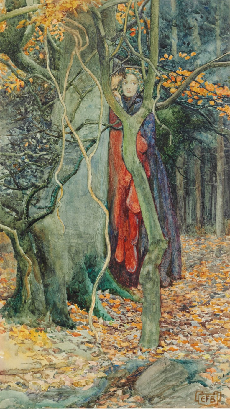 Eleanor Fortescue Brickdale, R.W.S. (1871-1945), The Secret. Pencil, watercolour and bodycolour on artist's board. 19½ x 8½ in (36.8 x 21.6 cm). Estimate £2,000-3,000. Offered in British Art Victorian, Pre-Raphaelite & British Impressionist Art on 12 December 2019 at Christie's in London