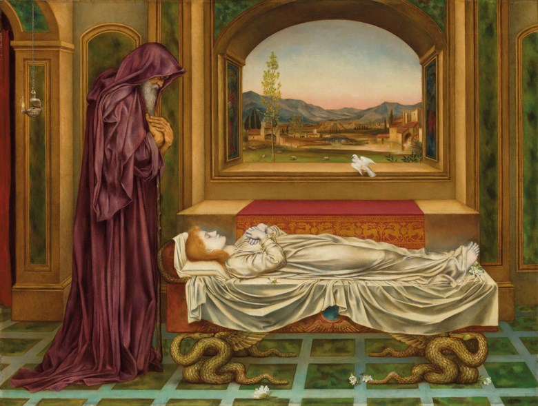 Evelyn De Morgan (1855-1919), The Wandering Jew 'Whom the gods love die young. Oil on canvas. 31 x 41  in (78,8 x 104.2  cm). Estimate £40,000-60,000. Offered in British Art Victorian, Pre-Raphaelite & British Impressionist Art on 12 December 2019 at Christie's in London