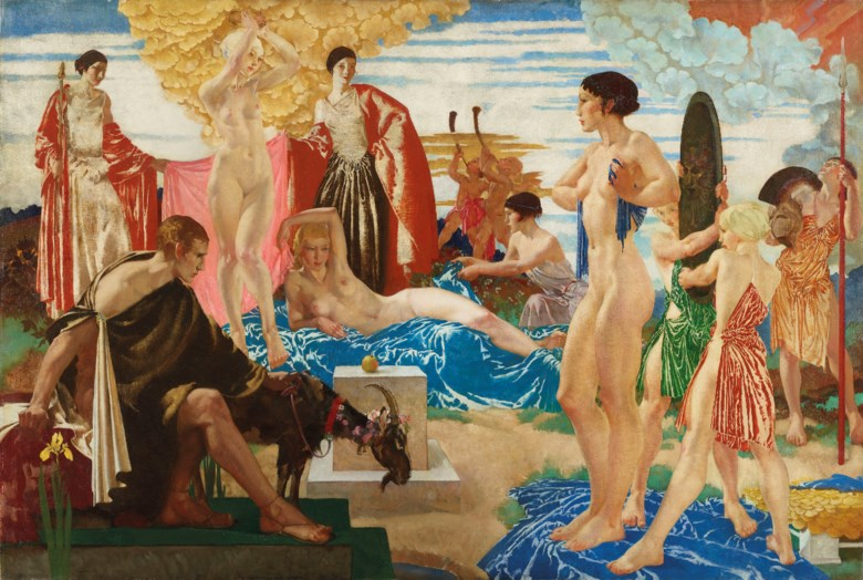 Sir William Russell Flint, R.A., P.R.W.S., R.S.W. (1880-1969), The Judgement of Paris, 1935. Oil on canvas. 47 x 69 ¼  in (119.5 x 176  cm). Sold for £407,250 on 12 December 2019 at Christie's in London