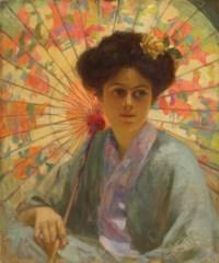 Girl with Japanese umbrella, circa 1915