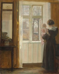 A mother and child at a window