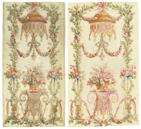 A MATCHED PAIR OF AUBUSSON TAPESTRY ENTRE-FENETRES