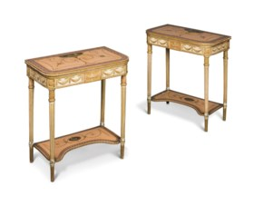 A PAIR OF GEORGE III POLYCHROME-PAINTED AND PARCEL-GILT SIDE