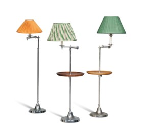 THREE CHROME-PLATED ADJUSTABLE FLOOR STANDING READING LAMPS
