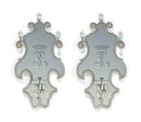 A PAIR OF NICKEL-PLATED AND CUT-GLASS GIRANDOLES