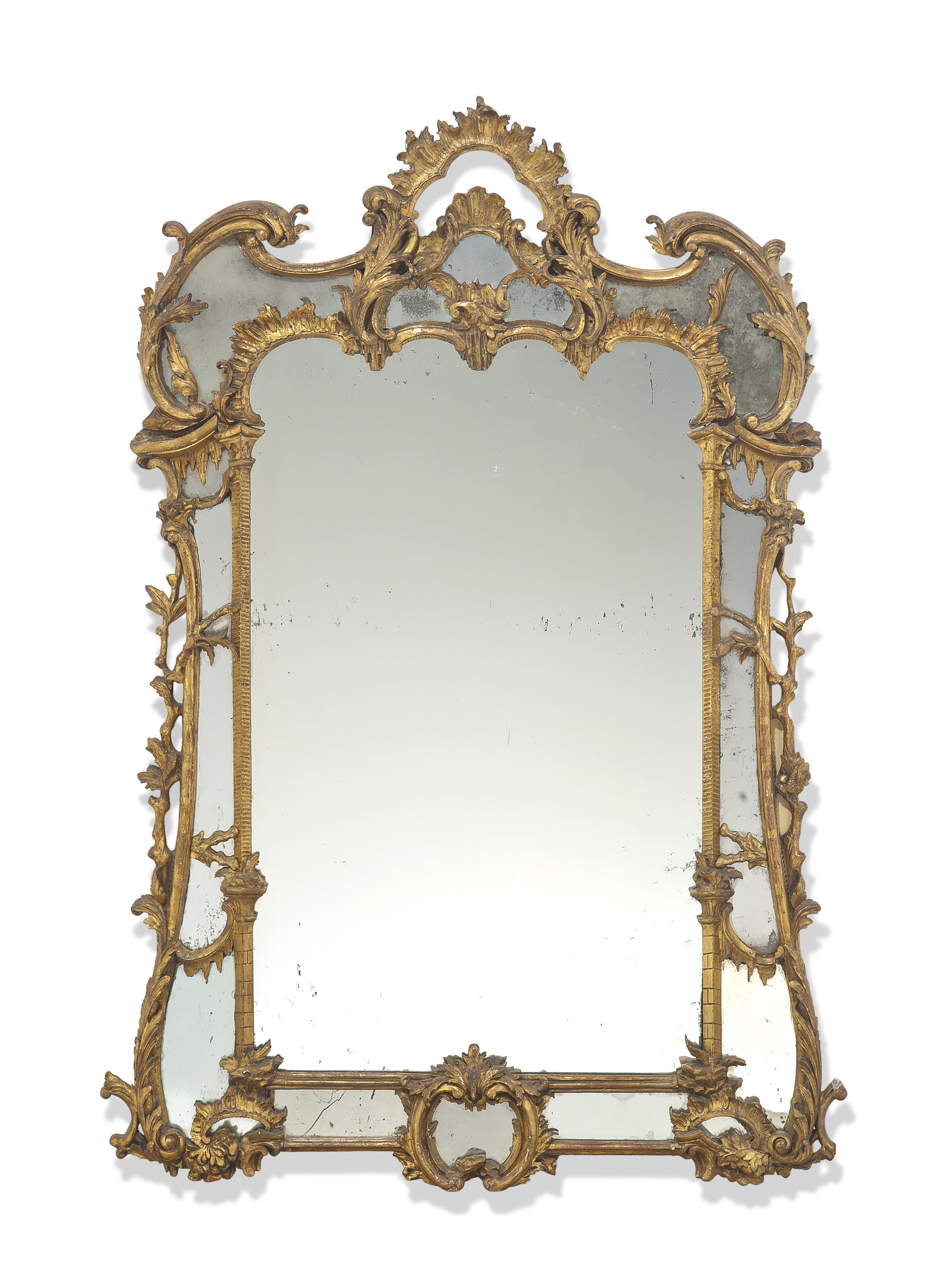 AN EARLY VICTORIAN GILTWOOD MIRROR