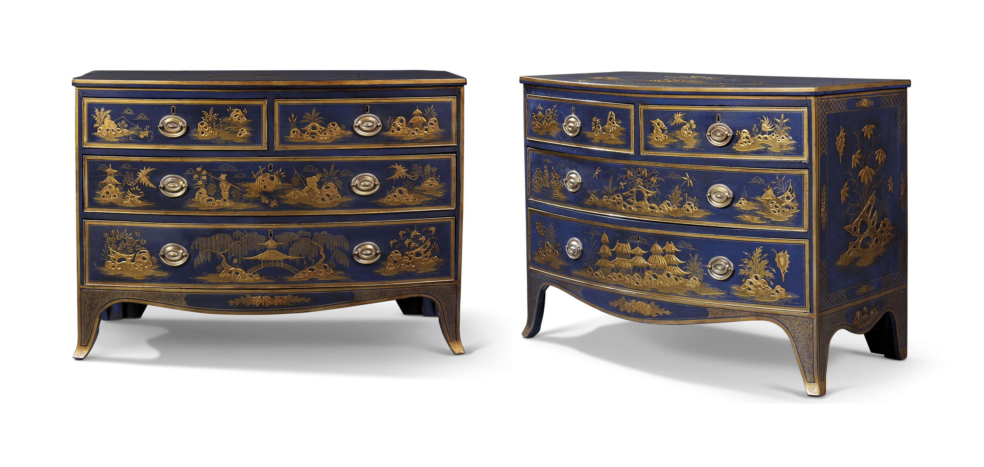 A PAIR OF BLUE AND GILT JAPANNED BOW-FRONTED CHESTS