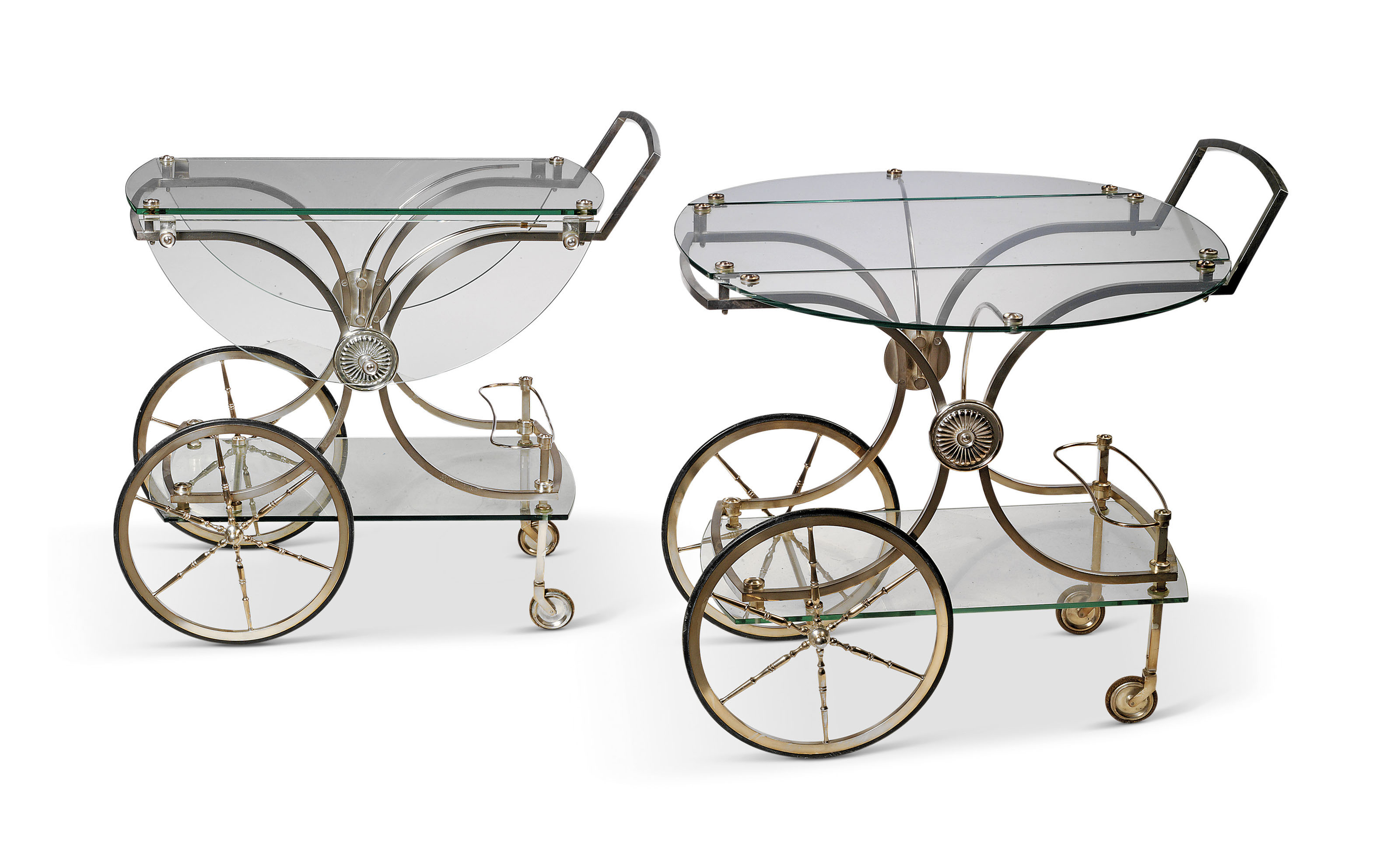 A PAIR OF CHROME-PLATED AND GLASS DRINKS TROLLEYS