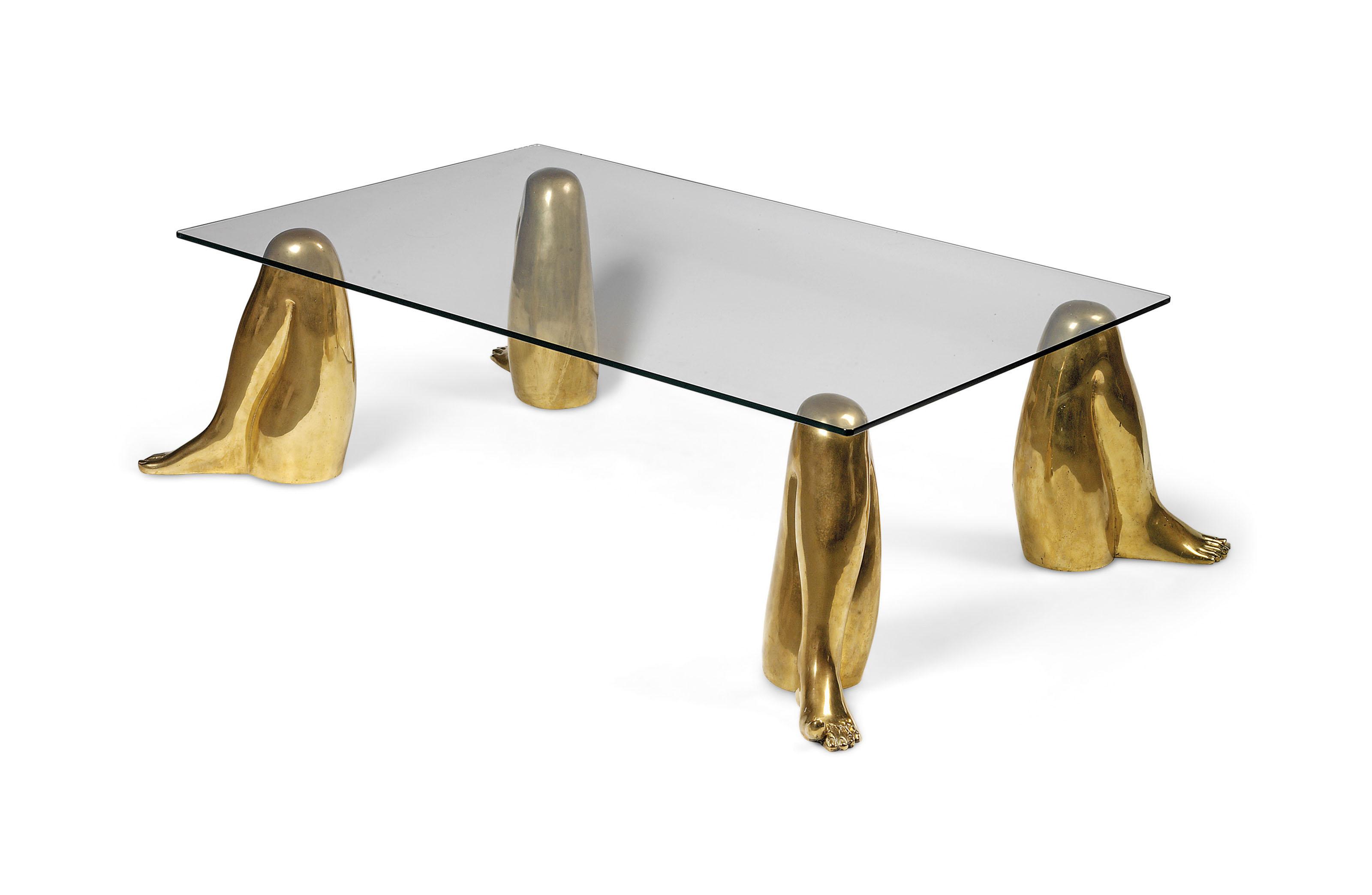 A PIETRINA CHECCACCI (B. 1941) UNUSUAL BRAZILIAN GILT-BRONZE AND GLASS TABLE