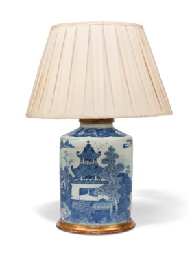 A CHINESE BLUE AND WHITE CYLINDRICAL CANISTER NOW MOUNTED AS