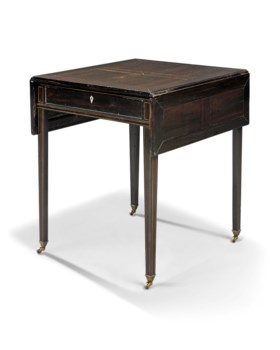 AN ANGLO-INDIAN FRUITWOOD-STRUNG EBONY PEMBROKE TABLE