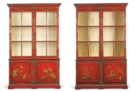 A PAIR OF NORTH EUROPEAN SCARLET JAPANNED BOOKCASES