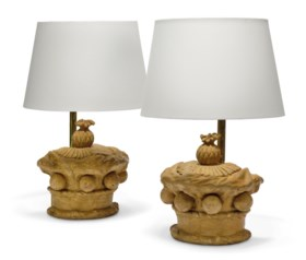 TWO ARTIFICIAL STONE MODELS OF CORONETS NOW MOUNTED AS LAMPS