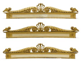 A SET OF THREE GEORGE IV PARCEL-GILT AND WHITE PAINTED WINDO