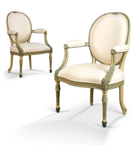 A PAIR OF GEORGE III GREEN AND CREAM-PAINTED OPEN ARMCHAIRS