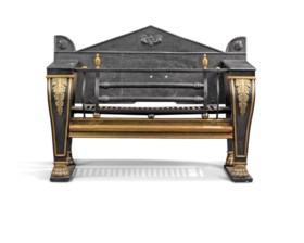 A REGENCY CAST-IRON AND BRASS-MOUNTED FIRE GRATE