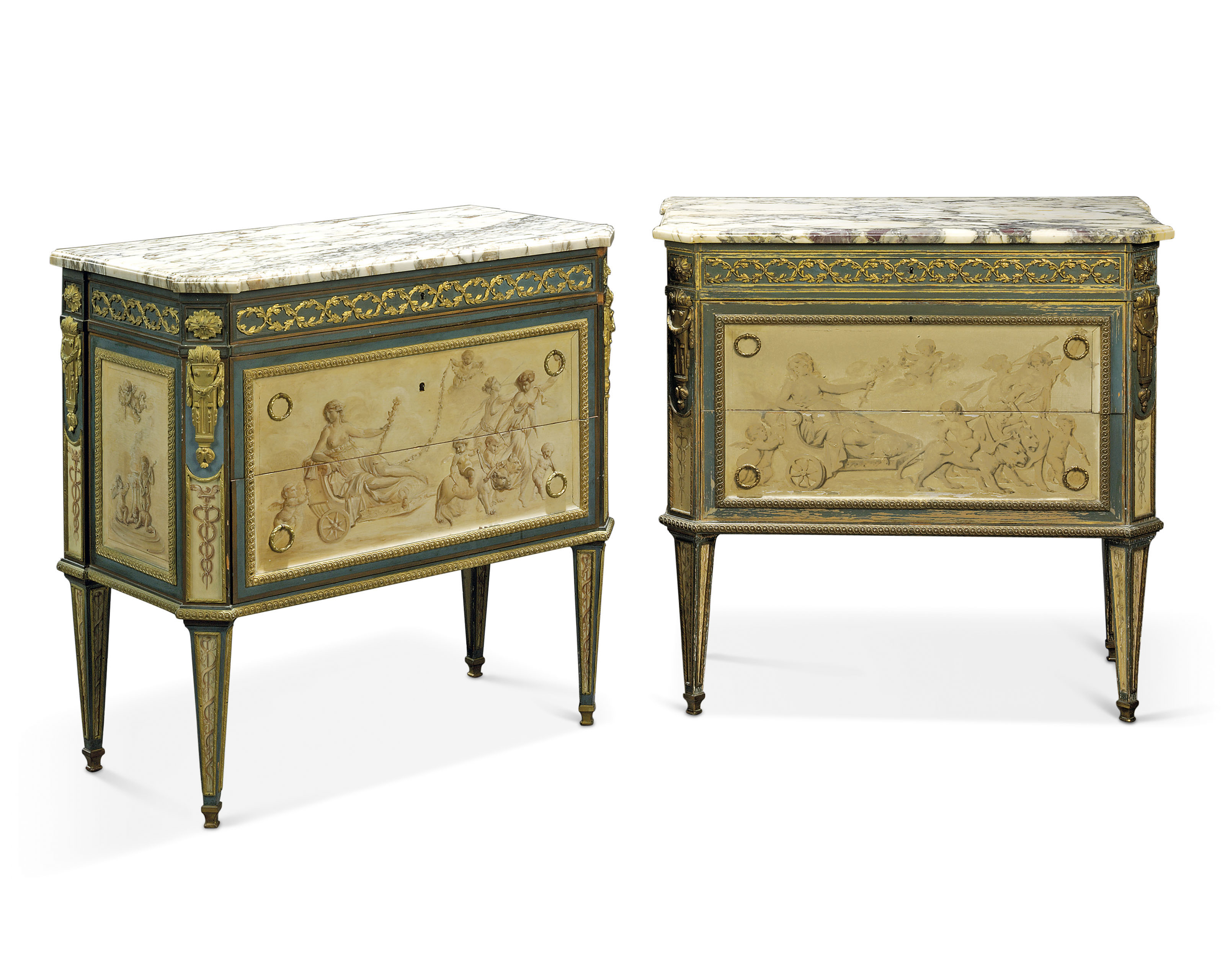 A Matched Pair Of French Ormolu Mounted Blue And Cream