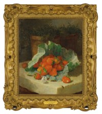 Still life of strawberries in a cabbage leaf with a cabbage white butterfly