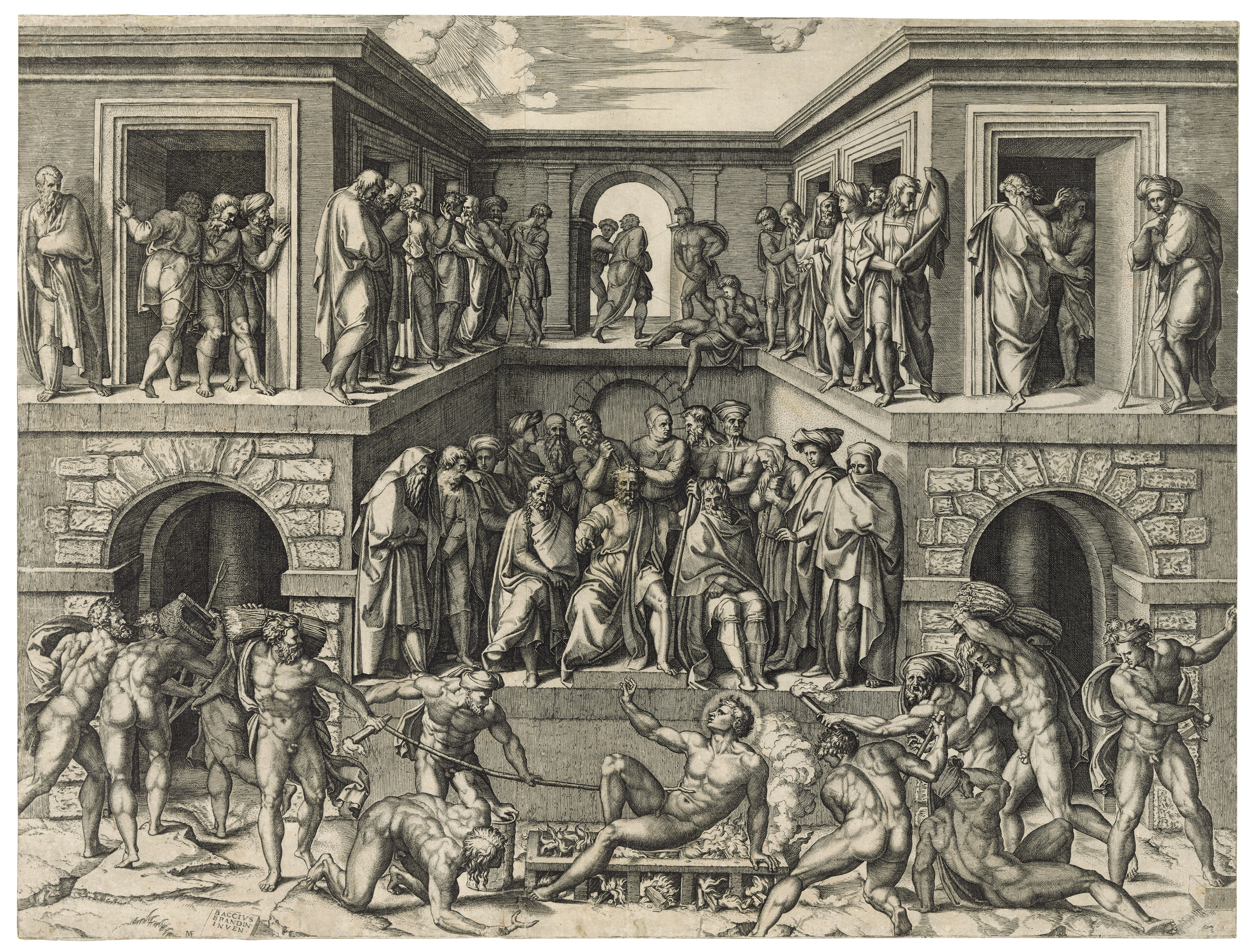 Marcantonio Raimondi (1480-1534) after Baccio Bandinelli (1488-1560),The Martyrdom of Saint Lawrence, circa 1525. Engraving on laid paper. Sheet 438 x 579 mm. Sold for £20,000 on 10 December 2019 at Christie's in London