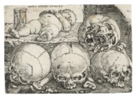 Sleeping Child with Four Skulls