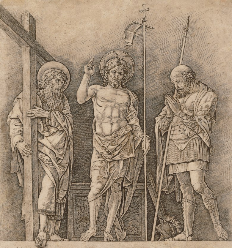 Andrea Mantegna (circa 1431-1506), The Risen Christ between Saints Andrew and Longinus, circa 1470. Engraving and drypoint on laid paper. Sheet 311 x 292  mm. Estimate £8,000-12,000. Offered in Old Master Prints on 10 December 2019 at Christie's in London