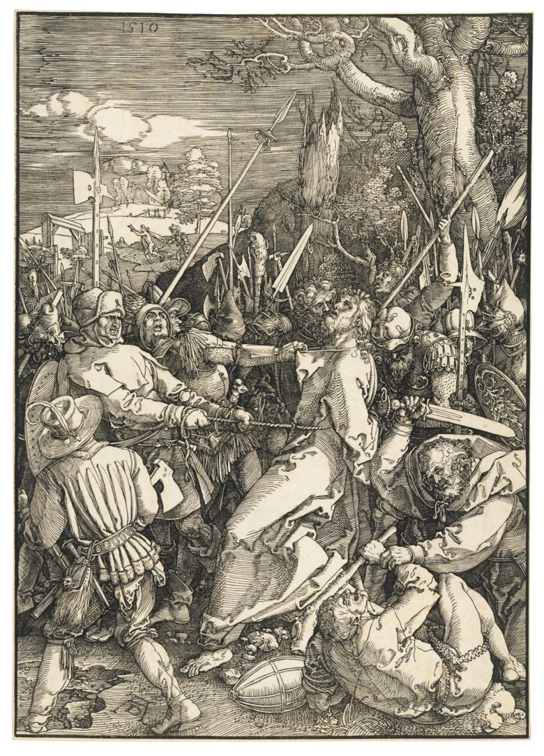 Albrecht Dürer (1471-1528), The Captivity of Christ, from The Large Passion, 1510. Woodcut on laid paper. Block 397 x 282  mm. Sheet 400 x 285  mm. Estimate £18,000-25,000. Offered in Old Master Prints on 10 December 2019 at Christie's in London
