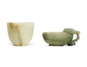 A GREYISH-WHITE JADE BELL-SHAPED CUP AND A GREYISH-GREEN JAD