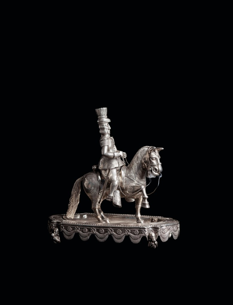 A rare South American silver incense burner in the form of Simón Bolívar, 'El Libertador', apparently unmarked, mid-19th century, 108.75 oz (3382.125 grams). 11¼  in (28.5  cm) high; 11  in (28  cm) wide. Estimate £6,000-10,000. Offered in Peter Petrou Tales of the Unexpected on 30 January 2019 at Christie's in London