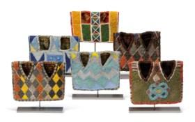 A GROUP OF SIX NIGERIAN 'IBEJI' BEADED JACKETS