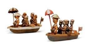 TWO YORUBA FIGURAL GROUPS OF COLONIAL BOAT PARTIES