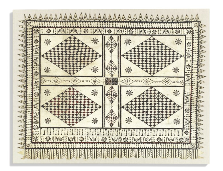 A Fijian 'tapa' large barkcloth, late 19thearly 20th century. 64 x 81¼  in (162 x 206  cm). Estimate £500-800. Offered in Peter Petrou Tales of the Unexpected on 30 January 2019 at Christie's in London