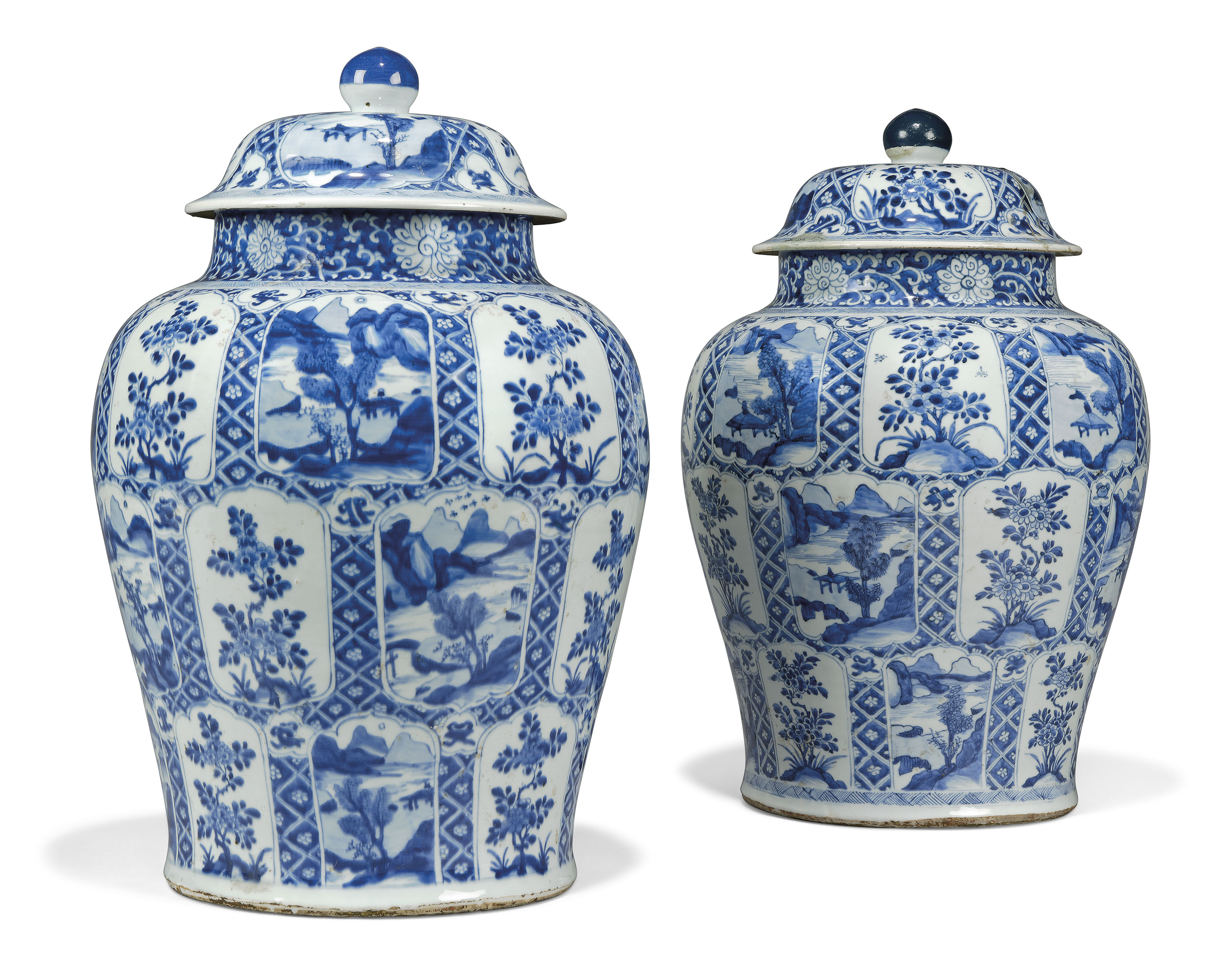 A LARGE PAIR OF CHINESE BLUE AND WHITE BALUSTER VASES AND COVERS