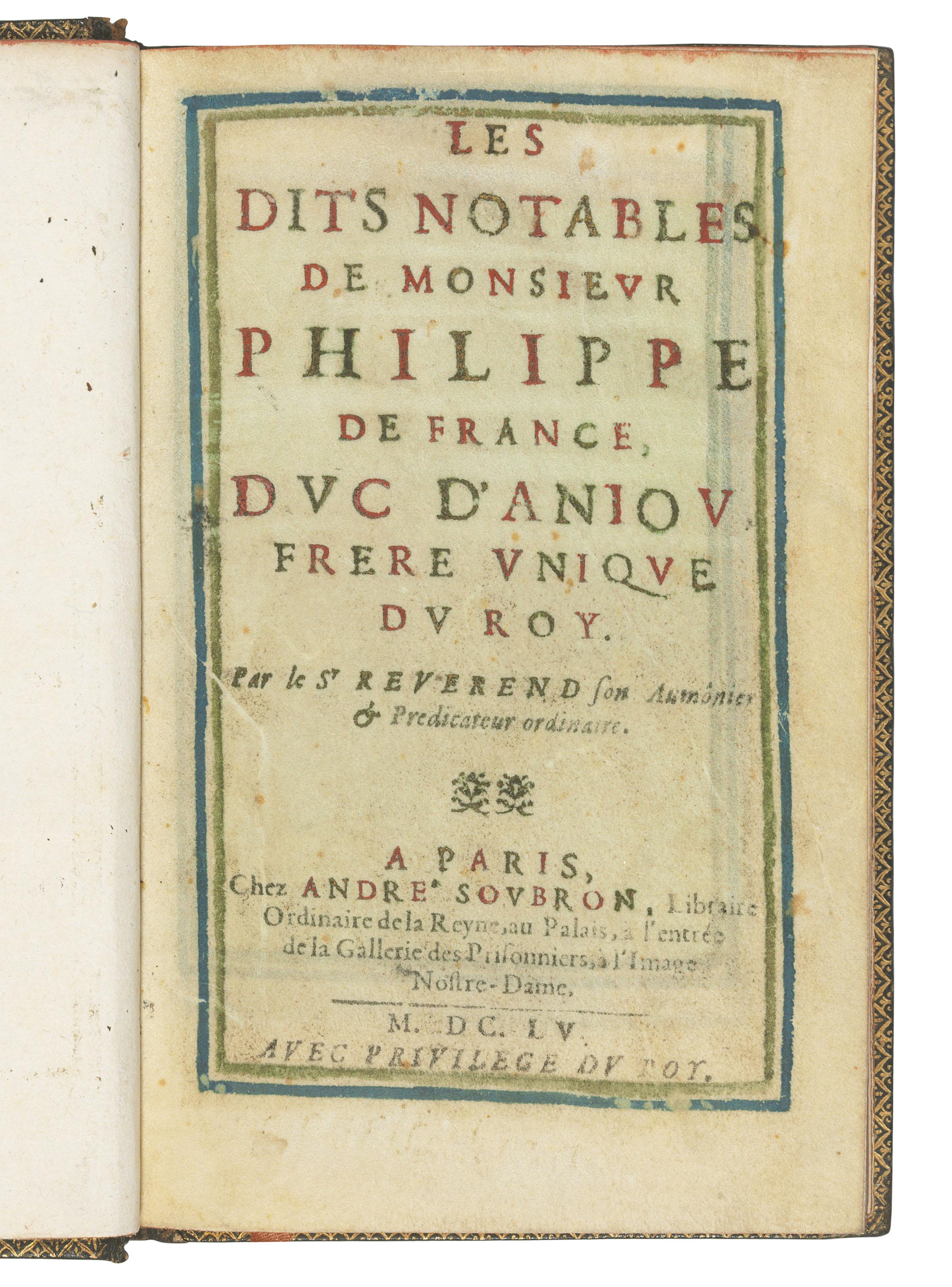 REVEREND, Jean, aumônier (fl.1600s). Les dits notables de Monsieur Philippe...