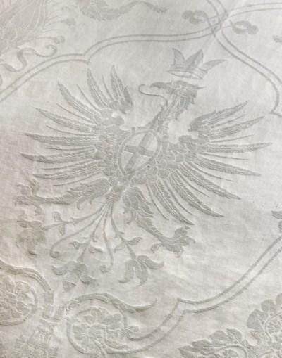 A Flanders linen tablecloth, e