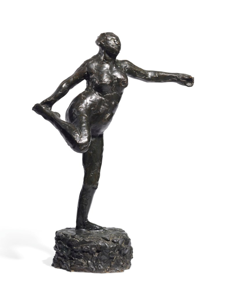 Edgar Degas (1834-1917), Danseuse tenant son pied droit dans la main droite, circa 1896-1911; this bronze version cast at a later date in an edition of 22. Height 21⅞  in (53  cm). Estimate £150,000-250,000. Offered in Hidden Treasures Impressionist & Modern Masterpieces from an Important Private Collection on 27 February 2019 at Christie's in London