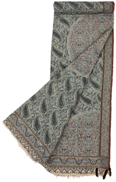 A moon shawl (chandar), North India, circa 1820-30. 66⅞ x 68⅛in (167 x 173cm). Estimate £4,000-6,000. Offered in  An Important Private Collection of Kashmir Shawls, 11-18 June 2019, Online