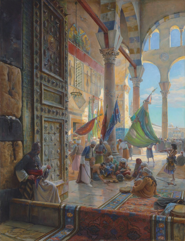 Gustav Bauernfeind (German, 1848-1904), Forecourt of the Umayyad Mosque, Damascus, 1890. 47¼ x 36¼  in (120.8 x 92.2  cm). Estimate on request. Offered in Orientalist Art on 29 April 2019 at Christie's in London