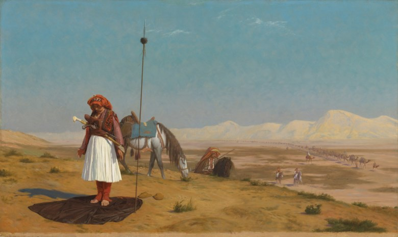 Jean-Léon Gérôme (French, 1824-1904), Prayer in the Desert, 1864. Oil on panel. 19⅛ x 32  in (48.5 x 81.3  cm). Estimate on request. Offered in Orientalist Art on 29 April 2019 at Christie's in London