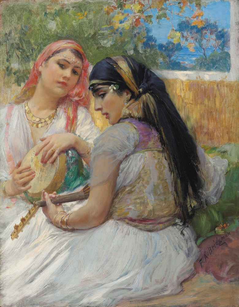 Frederick Arthur Bridgman (American, 1847-1928), Two young Algerians. Oil on panel. 16 x 12  in (40.5 x 31.5  cm). Sold for £262,500 on 29 April 2019 at Christie's in London