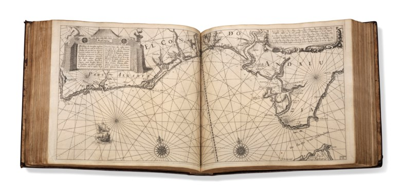 Willem Janszoon Blaeu (1588-1664). Le Flambeau de la Navigation monstrant la description & delineation de toutes les Costes & Havres de la Mer Occidentale, Septentrionale & Orientale, 1620. Three parts in one volume, oblong folio (265 x 295 mm). Estimate £100,000-150,000. Offered in Beyond the Horizon The Mopelia Collection of Fine Atlases and Travel Books on 5 June 2019 at
