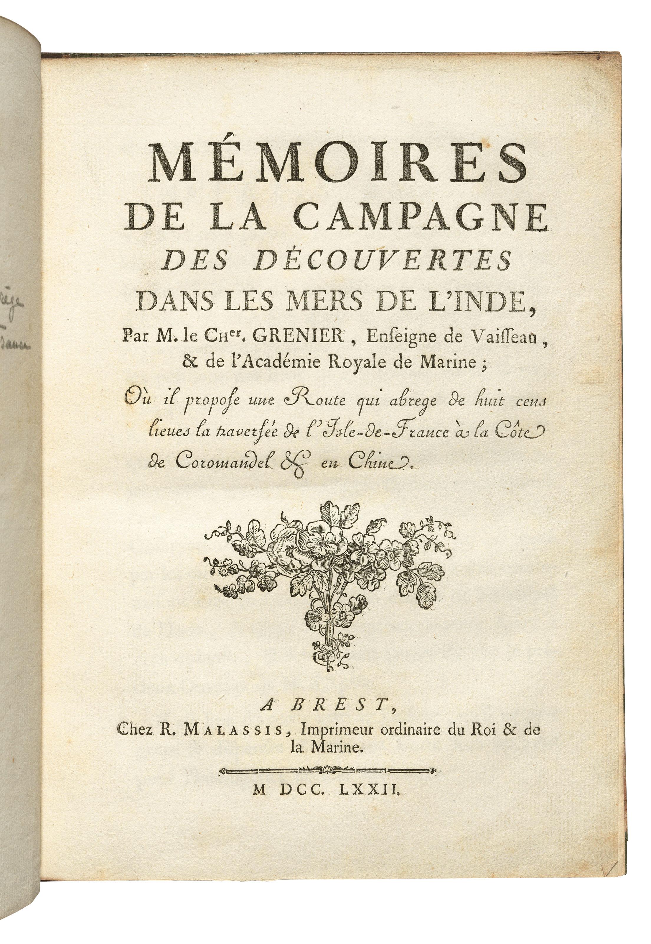 GRENIER, Jacques-Raymond de (1736-1803). Mémoires de la campagne de...